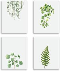 Modern Green Plant Series Wall Art Prints Watercolor ... - Amazon.com