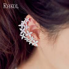 2019 <b>RAKOL</b> Bridal Earrings <b>2018 Cubic</b> Zircon Flowers Asymmetric ...