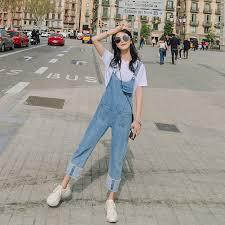 Wide leg bib female <b>2019</b> spring <b>new</b> nine pants <b>summer Korean</b> ...