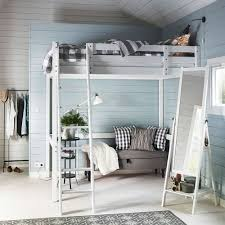 f stunning attic bedroom design with wooden wall design and grey polished solid wood ikea loft bed be equipped steel stairs also vertical framed mirror bedrooms furnitures designs latest solid wood furniture