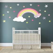Rainbow <b>Wall</b> Stickers with Hearts and Stars, <b>Baby Girls Nursery</b> ...