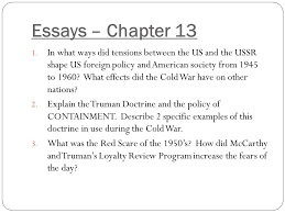 chapter  the cold war begins essays  chapter in what ways did  essays  chapter   in what ways did tensions between the us and the