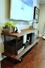 perfect diy for under the big screen industrial build from refreshrestylecom build industrial furniture