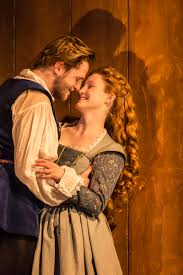 shakespeare in love hearts hearts hearts stage seen orlando james as will and eve ponsonby as viola pic johan persson