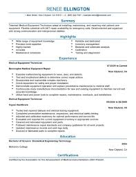 installation repair resume examples installation repair medical equipment technician resume example