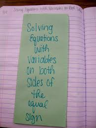 math love algebra inb pages solving equations solving equations variables on both sides of the equal sign outside of foldable