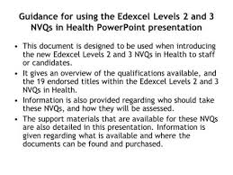 Presenting  Units A  and A  Who is this presentation for  Assessor     SlidePlayer Guidance for using the Edexcel Levels   and   NVQs in Health PowerPoint presentation This document