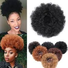 Short Afro Kinky Curly Ponytail Drawstring High Puff Clip In ... - Vova