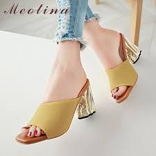 Meotina Summer Slides <b>Women Shoes</b> Fashion Strange Style Heel ...