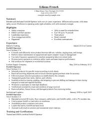 unforgettable forklift operator resume examples to stand out    forklift operator resume sample
