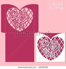 Vector die laser cut envelope template with <b>rose flower</b>. <b>Wedding</b> ...