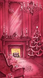 vintage decor clic: very merry vintage syle pretty pink fireplace vintage christmas card