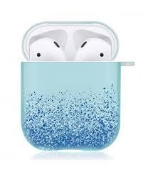 Купить <b>силиконовый чехол</b> для Airpods <b>Brosco</b> Блестки Синий в ...