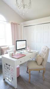 feminine home office in white and pink more chic mint teal office