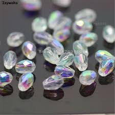 Isywaka 70pcs White AB Color 4*6mm <b>Faceted Teardrop</b> Bead ...