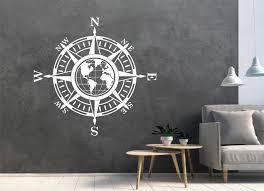 Map of World <b>Compass Vinyl</b> Decal Sticker Wall Globe Earth For ...