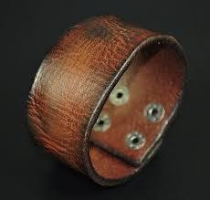 S301 <b>Vintage</b> Texture <b>Genuine Leather</b> Bracelet Wristband Men's ...