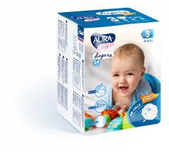 <b>Подгузники Aura Baby</b> 3/М (4-9 кг), 14 шт. (282153).