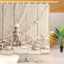 180cm Seashell Starfish Conch <b>Shower</b> Curtain Fishing Nets Beach ...