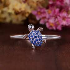 <b>Cute Female Blue</b> Turtle Ring Unique Style Silver Color Small Love ...