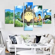<b>5 Panel</b> Modern Miyazaki Hayao Totoro Art <b>HD Print</b> Modular Wall ...