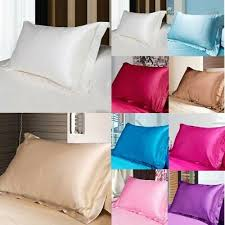 <b>NEW Solid</b> Queen/Standard Silk <b>Satin</b> Pillow Case Bedding ...