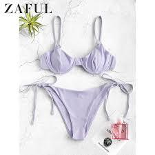 ZAFUL, спортивные однотонные <b>стринги</b>, бикини, набор, Холтер ...