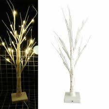24 LEDs <b>White Birch</b> Decorative Bedside <b>Lamp</b> Glowing Twig Tree ...