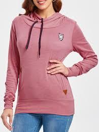Hoodies | Pink M <b>Drawstring Pocket Design Embroidered</b> Hoodie ...
