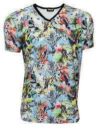 Men's Exotic Tropical <b>Floral</b> Birds Parrots <b>Hawaii Print</b> V-Neck T ...