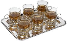 <b>Набор стаканов с</b> подстаканниками на подносе Queen Anne, 6шт ...