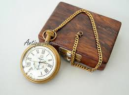 Vintage Style Grandfather <b>Pocket</b> Watch Antique Brass Chain <b>With</b> ...