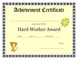 printable achievement certificates kids hard worker achievement printable award certificate template