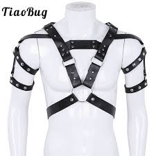 TiaoBug <b>Mens PU</b> Leather Metal Rivet Body Chest <b>Harness</b> Muscle ...