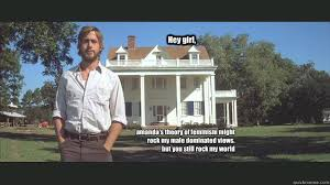 Hey girl, amanda's theory of feminism might rock my male dominated ... via Relatably.com