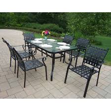 patio dining: oakland living web  piece glass dining patio dining set