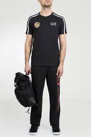 Черная футболка с белым декором <b>EA7</b> – купить в интернет ...