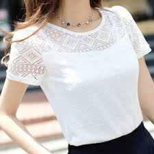 <b>2019 Summer Women Elegant</b> Lace Blouse Femme Chiffon Shirts ...