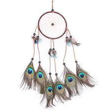 Willcomes <b>Handmade</b> Peacock Dream Catcher Wind Chimes <b>Indian</b> ...