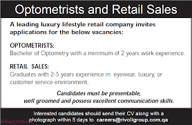 career opportunity in rivoli group optometrists and retail s interested candidates should send their cv along a photograph in 5 days