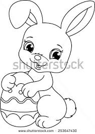 Small Picture Easter Bunny Coloring Page Stock Vector 253647430 Shutterstock