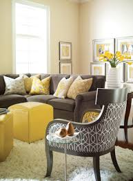 yellow and gray bedroom: deluxe living room gray furniture ideas set with grey velvet couch feat yellow ottoman table on white fur rug as decorate in modern small living areas