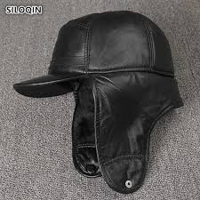 <b>SILOQIN Men's</b> Genuine Leather Hat winter Quality Sheep Skin ...