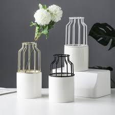 Nordic Minimalism Large Size Ceramic Vase Wrought Iron ... - Vova