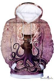 Winter's Long Sleeve <b>3D Animal Cat</b> Octopus <b>Printed</b> Leisure Purple ...