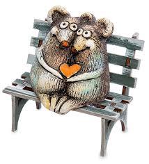 """KK-618 <b>Фигурка</b> """"Мышки на скамейке"""" шамот купить в интернет ..."""