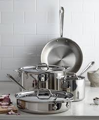 All-Clad Stainless Steel <b>7</b>-<b>Pc</b>. Cookware Set, Created for Macy's ...