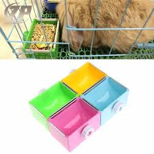 Ready Stock Small Pet Square <b>Metal</b> Lipping Feeder Hanging Bowl ...