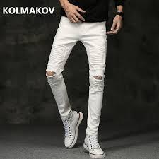 <b>2019</b> Spring New <b>men</b> Jeans <b>Black</b> White <b>Classic</b> Fashion hole style ...