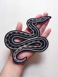 Eradura Hand <b>Embroidered Snake Patch</b> with Black and Gold Starry ...